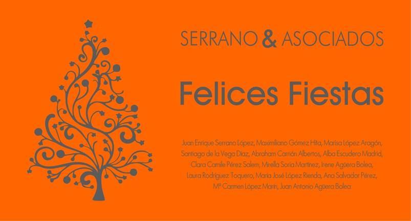 El equipo de Serrano & Asociados os desea unas Felices Fiestas.